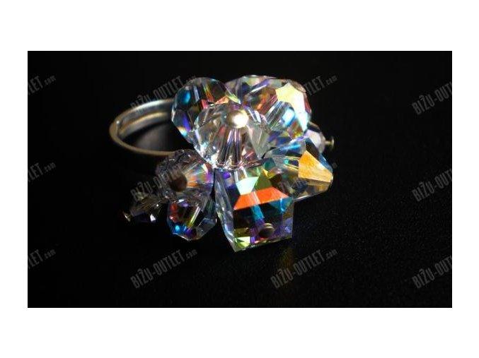 Sříbrný prsten s různými krystalovými tvrary, Swarovski Elements