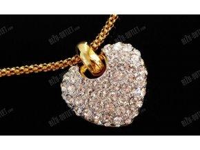 Náhrdelník srdce střed zlatý, Swarovski Elements