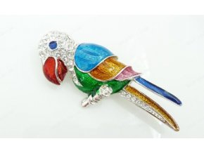Brož papoušek, Swarovski Elements